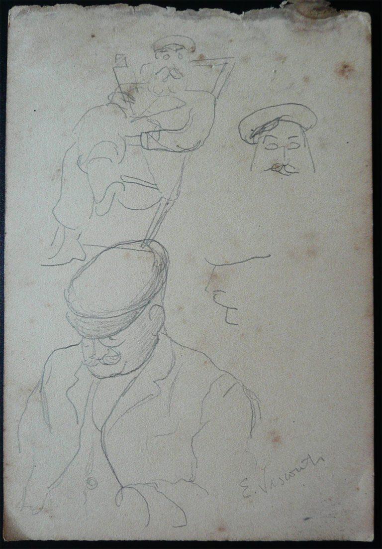 COMANDANTE - CRAYON S/ PAPEL - 16,0 x 10,5 cm - c.1900 - DESMEMBRADO DE UM CADERNO DE ANOTAÇÕES - COLEÇÃO PARTICULAR
