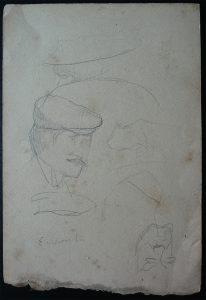 FIGURAS A BORDO - CRAYON S/ PAPEL - 16,0 x 10,5 cm - c.1900 - DESMEMBRADO DE UM CADERNO DE ANOTAÇÕES - COLEÇÃO PARTICULAR