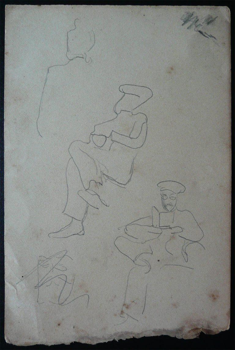 FIGURAS SENTADAS A BORDO - CRAYON S/ PAPEL - 16,0 x 10,5 cm - c.1900 - DESMEMBRADO DE UM CADERNO DE ANOTAÇÕES - COLEÇÃO PARTICULAR