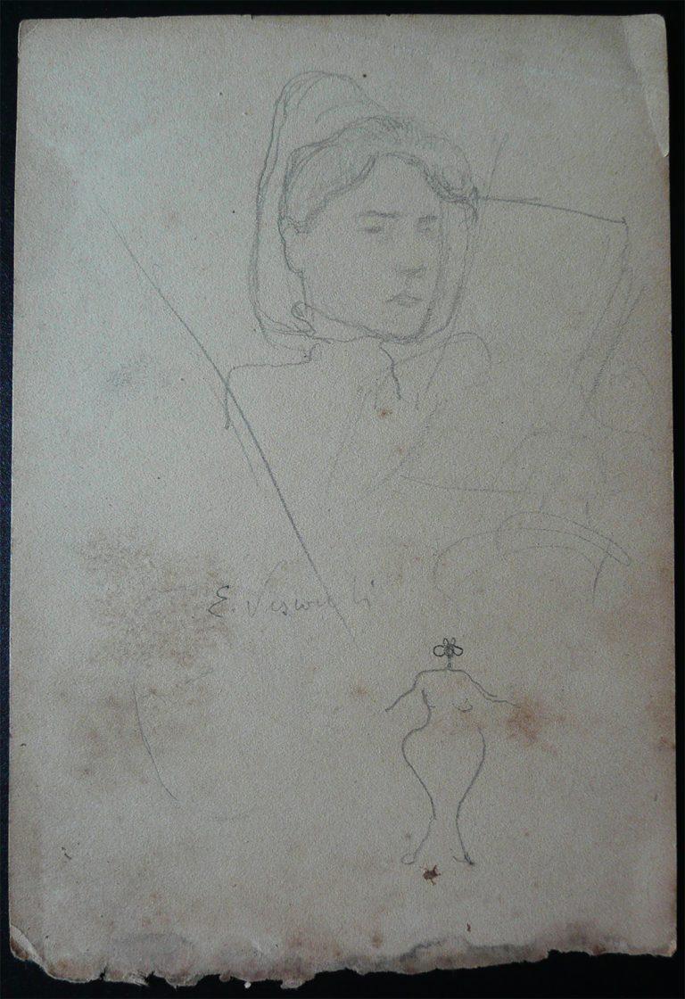FIGURA FEMININA A BORDO - CRAYON S/ PAPEL - 16,0 x 10,5 cm - c.1900 - DESMEMBRADO DE UM CADERNO DE ANOTAÇÕES - COLEÇÃO PARTICULAR