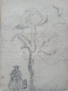 ÁRVORE COM FIGURAS - ESTUDO - CRAYON S/ PAPEL - 22 x 15 cm - c.1896 - COLEÇÃO PARTICULAR