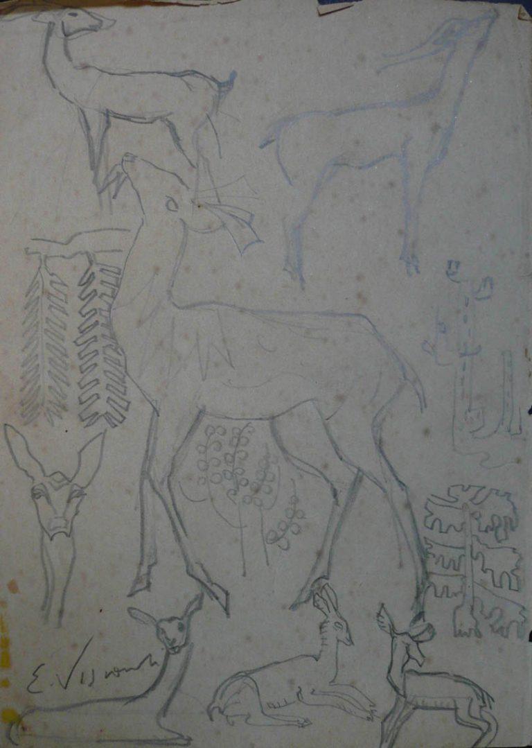 CERVOS - CRAYON S/PAPEL - 23 x 16 cm - c.1902 - DESMEMBRADO DE CADERNO DE ANOTAÇÕES - VERSO DA OBRA D962 - COLEÇÃO PARTICULAR
