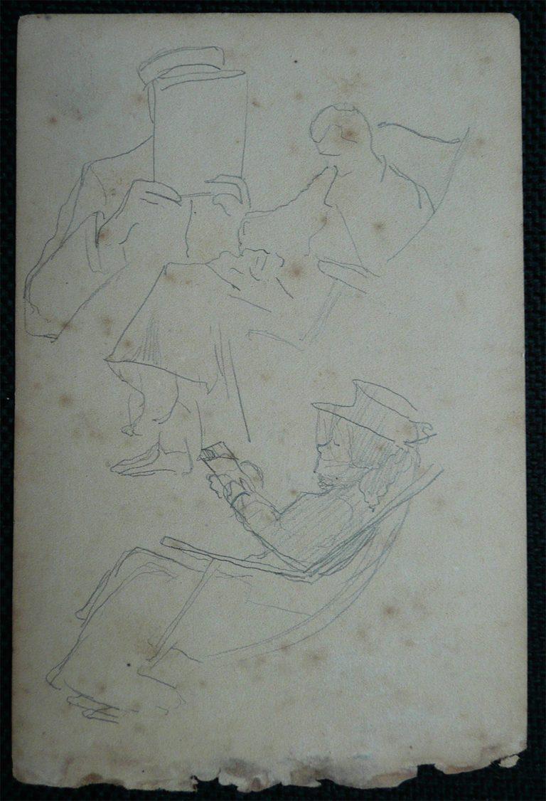 FIGURAS EM DESCANSO - CRAYON S/ PAPEL - 16,0 x 10,5 cm - c.1900 - DESMEMBRADO DE UM CADERNO DE ANOTAÇÕES - COLEÇÃO PARTICULAR