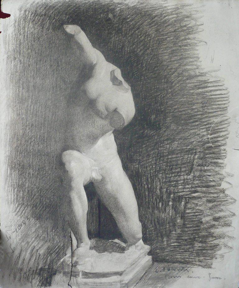 ESCULTURA - CARVÃO SOBRE PAPEL - 62 x 47 cm - 1893 - COLEÇÃO PARTICULAR