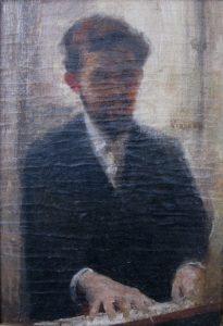 """ESTUDO PARA O """"RETRATO DO MAESTRO ALBERTO NEPOMUCENO"""" - OST - 24,0 x 16,5 cm - c.1895 - COLEÇÃO PARTICULAR"""
