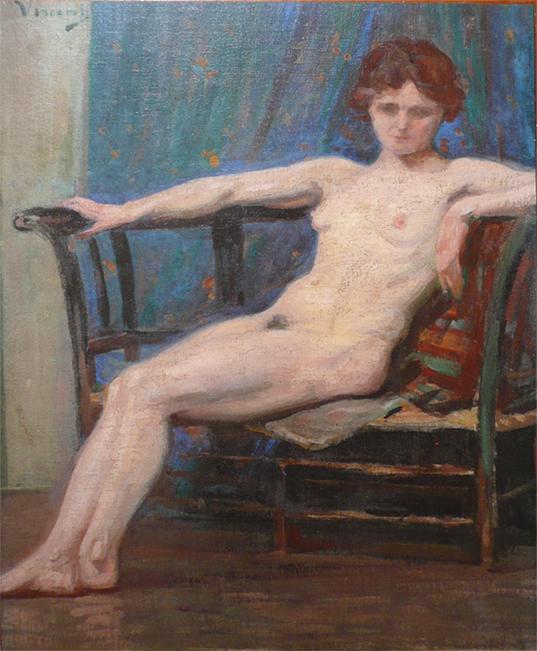 NU FEMININO RECOSTADO - OST - 56 x 49 cm - c.1914 - COLEÇÃO PARTICULAR