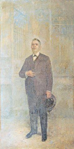 RETRATO DO COMENDADOR ALBINO DE SÁ COELHO COM CHAPÉU - OST - 245 x 128 cm - 1930 - IRMANDADE DA CANDELÁRIA