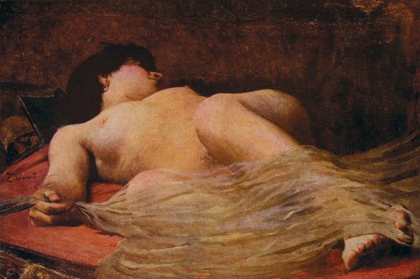 NU FEMININO COM VÉU - OST - 65 x 80 cm - c.1895 - LOCALIZAÇÃO DESCONHECIDA
