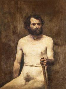 NU MASCULINO SENTADO COM BASTÃO - OST - 102 x 73 cm - 1891 - COLEÇÃO PARTICULAR
