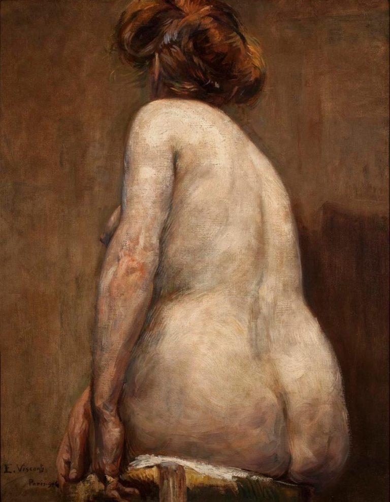 NU FEMININO DE COSTAS - OST - 79 x 62 cm - 1906 - COLEÇÃO PARTICULAR