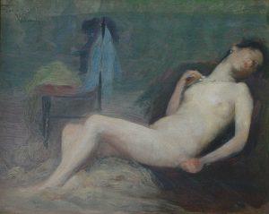 """NU FEMININO - ESTUDO PARA """"NU DEITADO"""" - OSM - 21,8 x 27,2 cm - 1895 - COLEÇÃO PARTICULAR"""