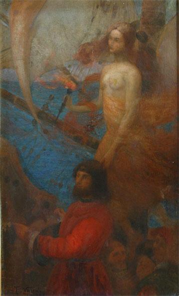 A PROVIDÊNCIA GUIA CABRAL - ESTUDO - OST - 84 x 54 cm - 1899 - ACERVO DA EMBAIXADA DO BRASIL EM WASHINGTON