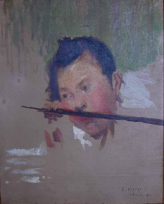 """CABEÇA - ESTUDO PARA """"AS DUAS IRMÃS ou NO VERÃO"""" - OST - 40 x 32 cm - c.1894 - COLEÇÃO PARTICULAR"""