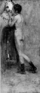 MODELO NO ATELIER - OST - 56 x 25 cm - c.1896 - LOCALIZAÇÃO DESCONHECIDA