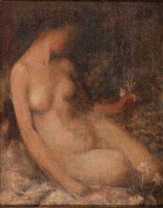 MULHER E FLOR - ESTUDO PARA SONHO MÍSTICO - OST - 39 x 31 cm - c.1897 - COLEÇÃO PARTICULAR