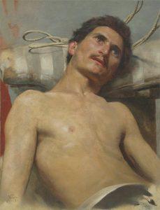NU MASCULINO RECOSTADO - OST - 67 x 41 cm - 1891 - COLEÇÃO PARTICULAR
