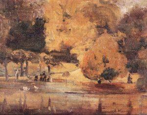 PARQUE MONTSOURIS (OUTONO) - OST - 28 x 36 cm - c.1897 - LOCALIZAÇÃO DESCONHECIDA