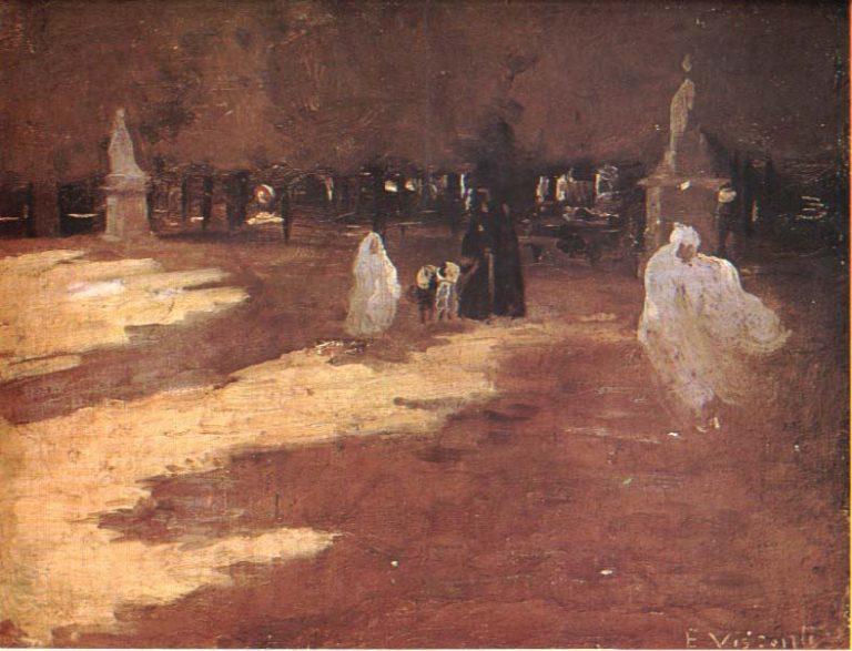 JARDIM DO LUXEMBURGO - ESTUDO PARA MATERNIDADE - OST - 28 x 38 cm - c.1905 - COLEÇÃO PARTICULAR