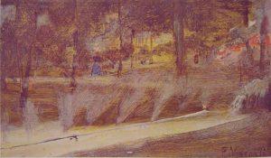TRECHO DE JARDIM NO LUXEMBURGO - OSM - 12,5 x 22,0 cm - c.1895 - LOCALIZAÇÃO DESCONHECIDA