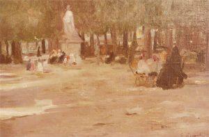 NO JARDIM DE LUXEMBURGO - OST - 30,5 x 37,5 cm - c.1905 - COLEÇÃO PARTICULAR