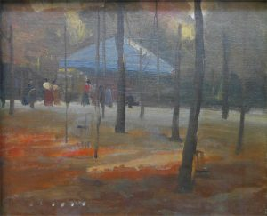PAVILHÃO NO JARDIM DE LUXEMBURGO - OST - 25 x 31 cm - c.1895 - COLEÇÃO PARTICULAR
