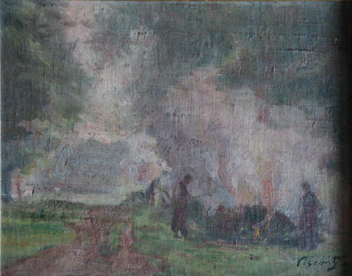 FOGUEIRA EM SAINT HUBERT - OSM - 23,0 x 28,0 cm - c.1915 - COLEÇÃO PARTICULAR