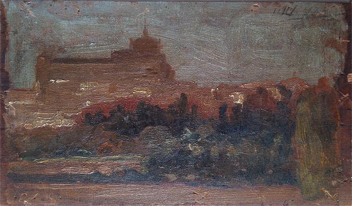PALÁCIO EM MADRID - VERSO DA OBRA P491 - OSM - 12,5 x 22,0 cm - 1896 - COLEÇÃO PARTICULAR