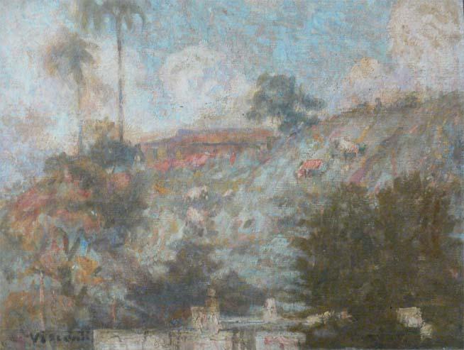 MORRO DE SANTO ANTONIO COM PALMEIRAS - OSM - 29 x 33 cm - c.1926 - COLEÇÃO PARTICULAR