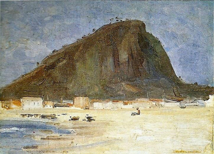 PRAIA DE COPACABANA E MORRO DO CANTAGALO - OST - 25,8 x 34,0 CM - c.1910 - LOCALIZAÇÃO DESCONHECIDA