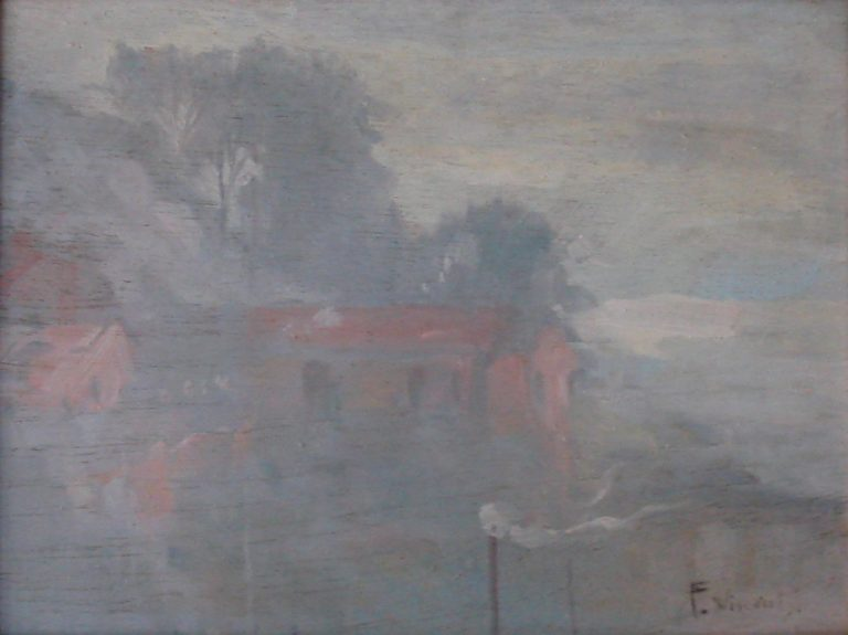 ENCOSTA DO MORRO DE SANTO ANTONIO - OSM - 26 x 35 cm - c.1925 - COLEÇÃO PARTICULAR