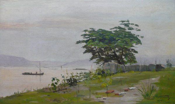 VISTA DA GAMBOA - OST - 24,5 x 41,0 cm - 1889 - COLEÇÃO PARTICULAR
