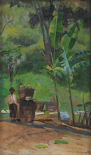 PAISAGEM BRASILEIRA - ÓLEO S/ CARTÃO - 32 x 20 cm - c.1890 - LOCALIZAÇÃO PARTICULAR