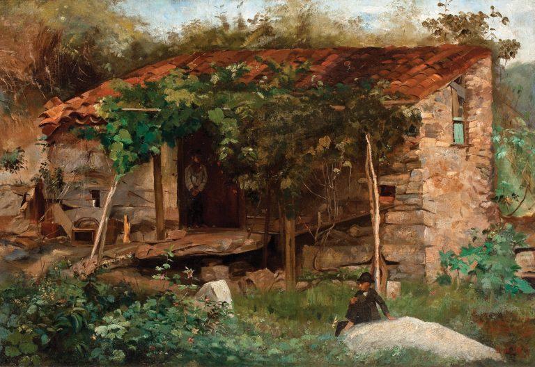 CASEBRE NO FIM DA PRAIA DO FLAMENGO - OST - 49 x 72 cm - 1888 - COLEÇÃO PARTICULAR