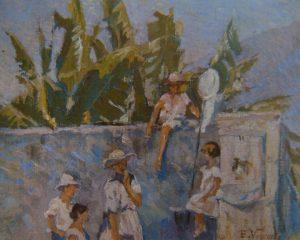 """BICA - ESTUDO PARA """"GAROTOS DA LADEIRA"""" - OST - 22,5 x 26,5 cm - c.1928 - COLEÇÃO PARTICULAR"""