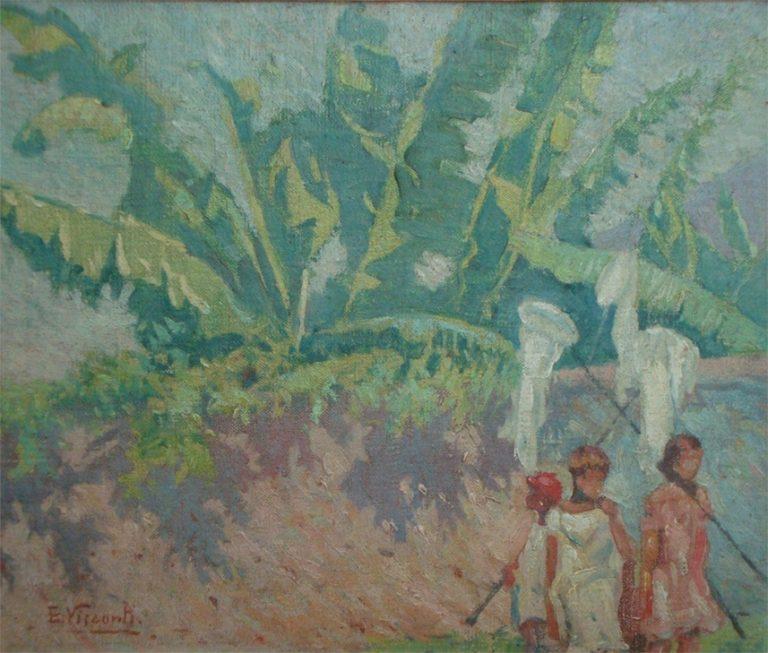 """BANANEIRAS - ESTUDO PARA """"GAROTOS DA LADEIRA"""" - OST - 22,5 x 26,5 cm - c.1928 - COLEÇÃO PARTICULAR"""