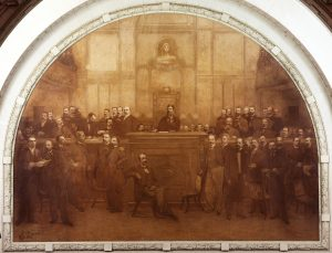 ASSINATURA DA CONSTITUIÇÃO DE 1891 - DECORAÇÃO PRINCIPAL DA MESA DIRETORA DA ASSEMBLÉIA LEGISLATIVA DO RIO DE JANEIRO - OST - 4,30 x 5,70 m - 1926 - PALÁCIO TIRADENTES - RIO DE JANEIRO/RJ