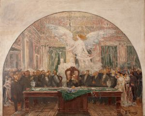 POSSE DE DEODORO DA FONSECA - PRIMEIRO ESTUDO PARA O PALÁCIO TIRADENTES - OST - 81 x 100 cm - 1925 - MUSEU DO INGÁ - NITERÓI/RJ