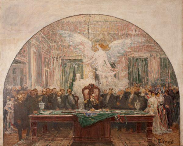 POSSE DE DEODORO DA FONSECA - ESTUDO NÃO UTILIZADO PARA O PAINEL DA ASSEMBLÉIA LEGISLATIVA DO RIO DE JANEIRO - PALÁCIO TIRADENTES - OST - 81 x 100 cm - 1925 - MUSEU DO INGÁ - NITERÓI/RJ