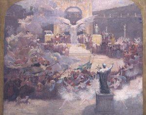 A INFLUÊNCIA DAS ARTES SOBRE A CIVILIZAÇÃO - ESTUDO PARA O PANO DE BOCA DO THEATRO MUNICIPAL DO RIO DE JANEIRO - OST - 64,5 x 81,2 cm - 1906 - CENTRO DE DOCUMENTAÇÃO DA FUNDAÇÃO TEATRO MUNICIPAL DO RIO DE JANEIRO