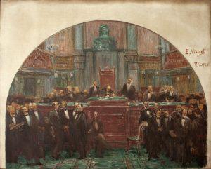 ASSINATURA DA CONSTITUIÇÃO DE 1891 - SEGUNDO ESTUDO PARA O PALÁCIO TIRADENTES - OST - 81 x 100 cm - 1925 - MUSEU DO INGÁ - NITERÓI/RJ
