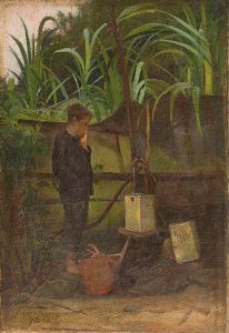MENINO COM LATA D'ÁGUA - OST - 29,5 x 19,5 cm - 1890 - COLEÇÃO PARTICULAR