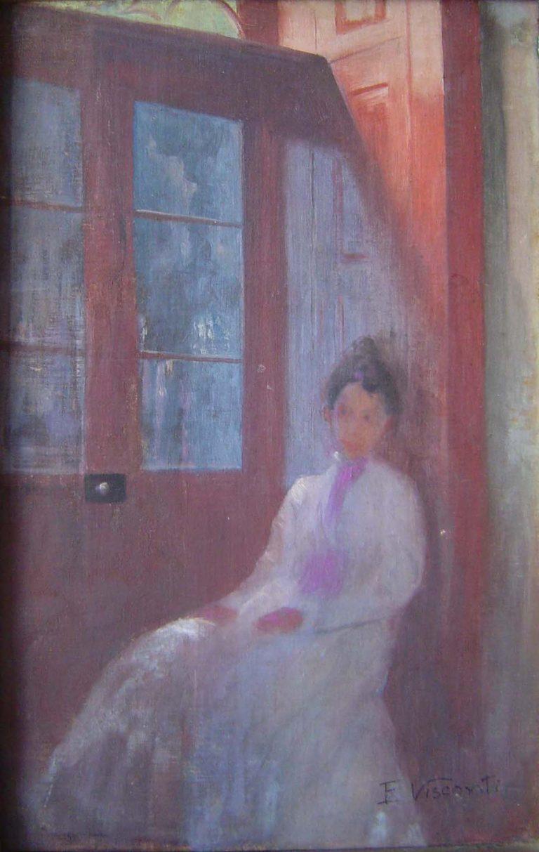 MOÇA NA PORTA - OST - 45 x 27 cm - c.1910 - COLEÇÃO PARTICULAR