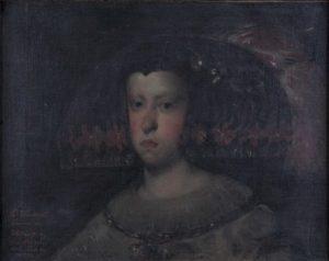 MARIANA D'ÁUSTRIA - CÓPIA DA VELÁSQUEZ - OST - 43 X 55 cm - 1896 - LOCALIZAÇÃO DESCONHECIDA