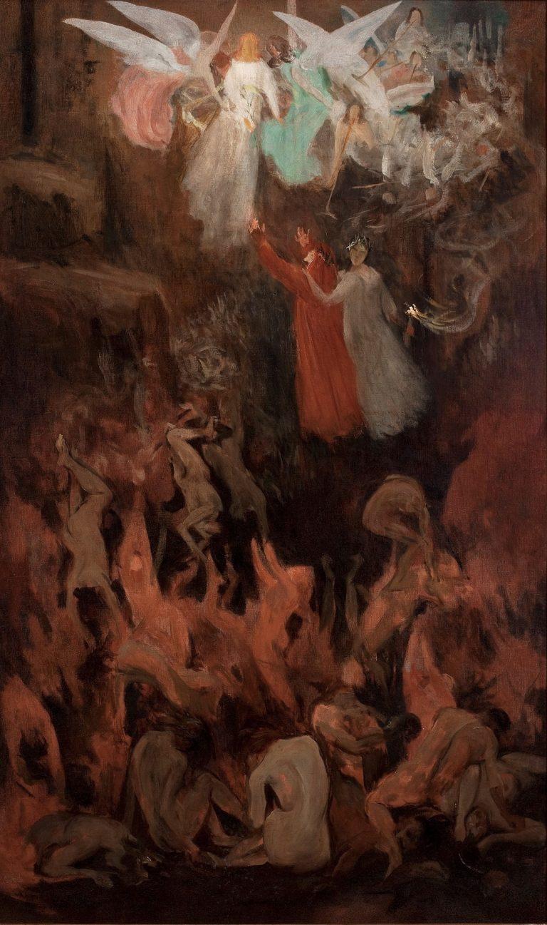 DANTE E VIRGÍLIO ASCENDENDO AO PARAÍSO - OST - 100 x 60 cm - 1908 - COLEÇÃO PARTICULAR
