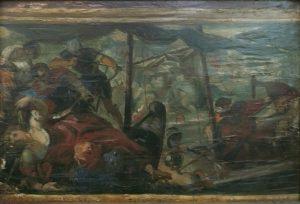 BATALHA DE LEPANTO - CÓPIA DE TINTORETTO - OSM - 21 x 32 cm - 1896 - COLEÇÃO PARTICULAR