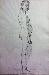 NU FEMININO - CRAYON S/ PAPEL - 33 x 22 cm - c.1896 - COLEÇÃO PARTICULAR