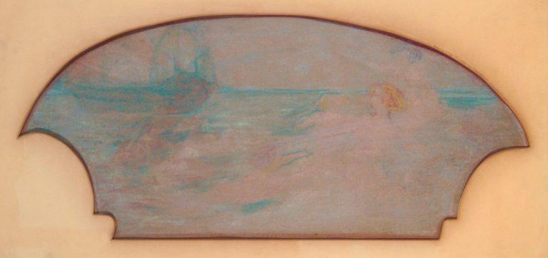 A ARTE LÍRICA - INSPIRAÇÃO MUSICAL - ESTUDO PARA O PAINEL LATERAL DO FOYER DO THEATRO MUNICIPAL DO RIO DE JANEIRO – GIZ SOBRE PAPEL - 32,0 x 61,5 cm - c.1914 - CENTRO DE DOCUMENTAÇÃO DA FUNDAÇÃO TEATRO MUNICIPAL DO RIO DE JANEIRO