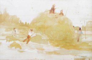 COLHEITA DO FENO - SAINT HUBERT - AQUARELA - 17,0 x 24,0 cm - 1916 - COLEÇÃO PARTICULAR