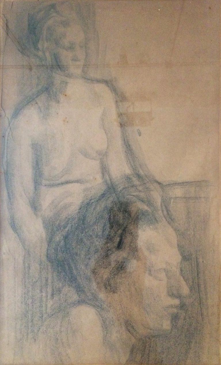 NU FEMININO E CABEÇA - CRAYON SOBRE PAPEL - 41,0 x 25,0 cm - c.1900 - COLEÇÃO PARTICULAR