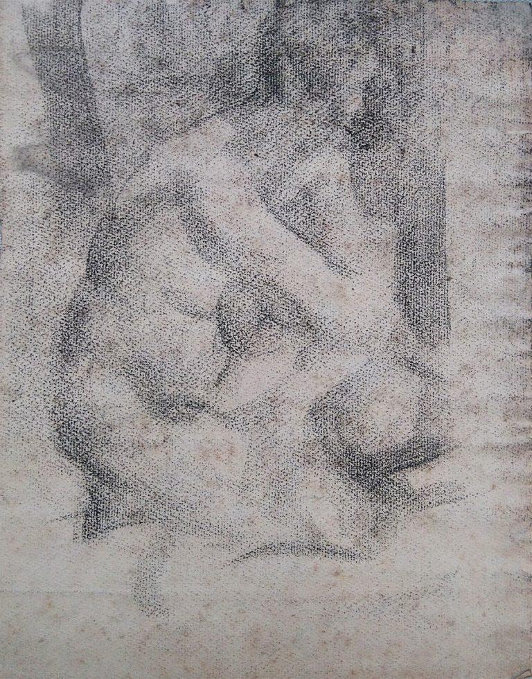 NU FEMININO SENTADO - CARVÃO SOBRE PAPEL - 31,0 x 23,5 cm - c.1900 - COLEÇÃO PARTICULAR